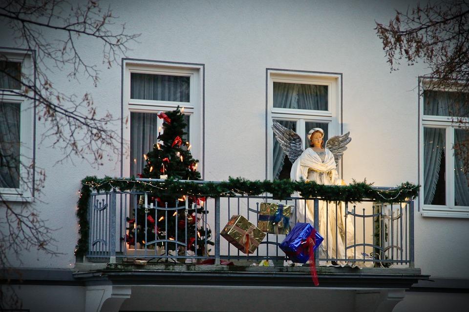 Christmas, Balcony, Angel, Gifts, Decoration, Figure