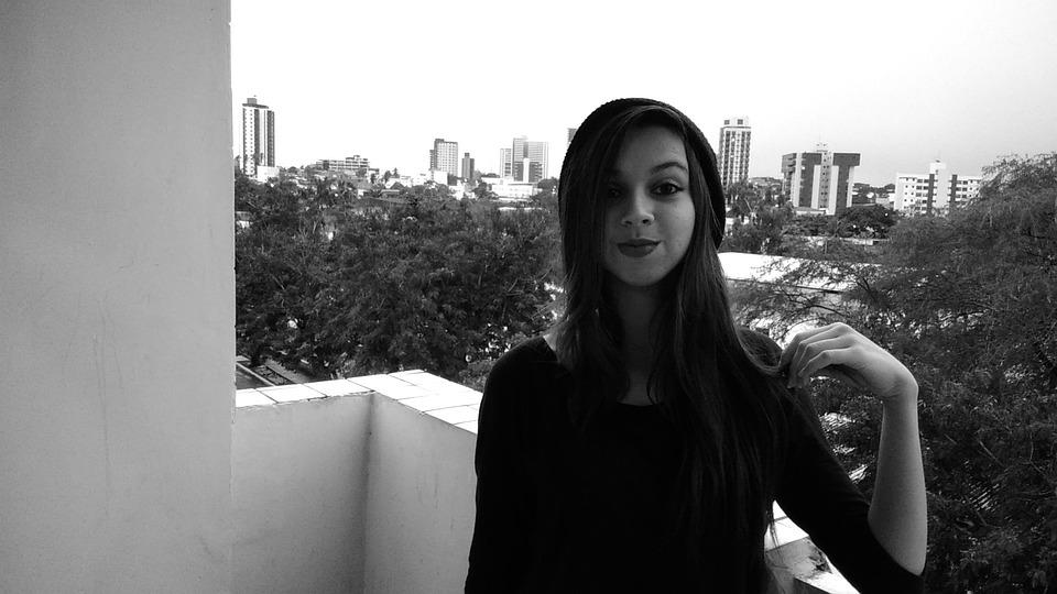 Black And White, Girl, Young, Girl Balcony, Balcony