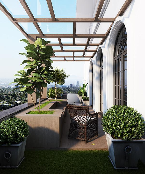 Balcony, Garden, Glass Roof, Outdoors, Plants, Chair