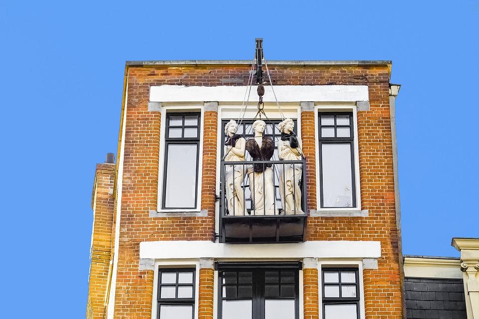 Building, Brick, Balcony, Statue, Sculpture, Women