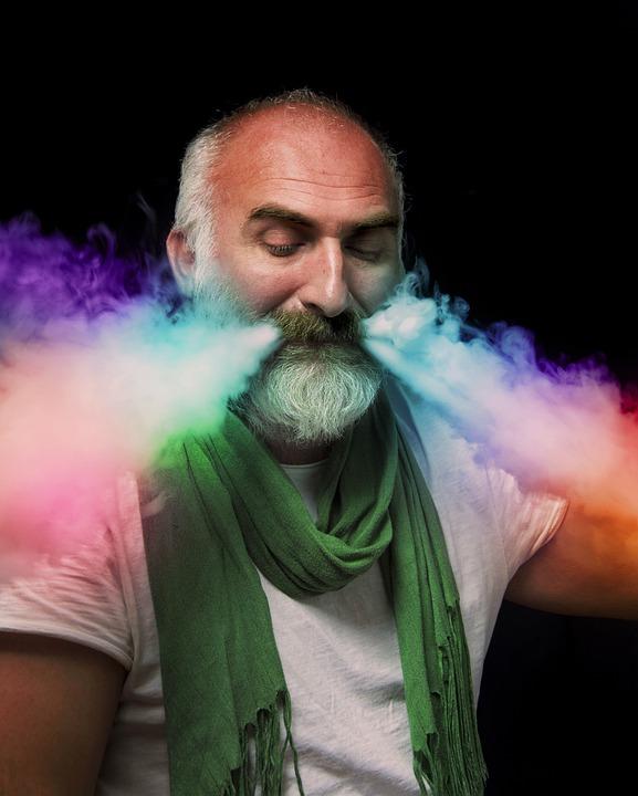 Man, Beard, Color, Smoke, Colors, Effect, Bald, Old