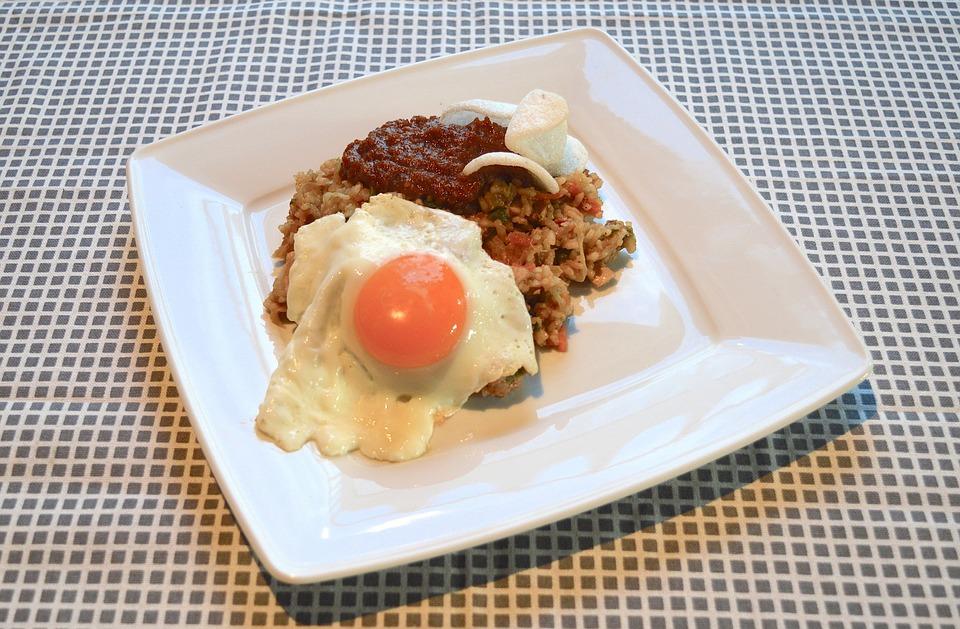 Nasi, Bali, Egg, Kroepoek