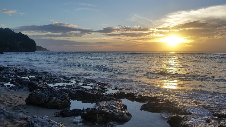 Beach, Sunset, Bali, Indonesia, Rock Pools, Ocean