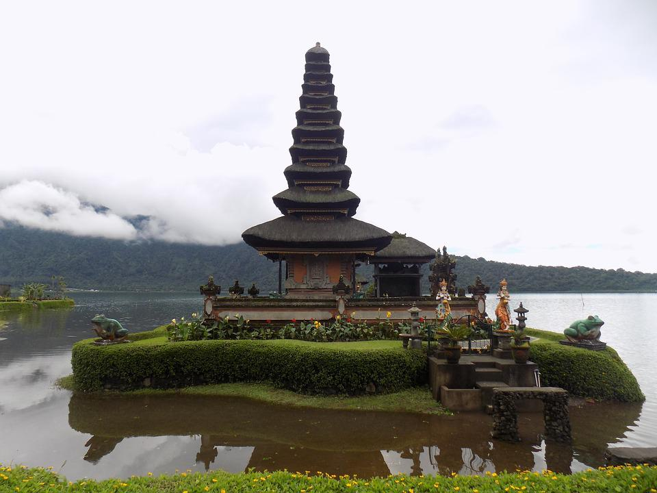 Temple, Lake, Traditional, Bali, Balinese, Architecture
