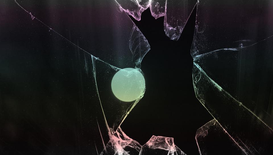 Moon, Broken Glass, Black, Ball, Abstract