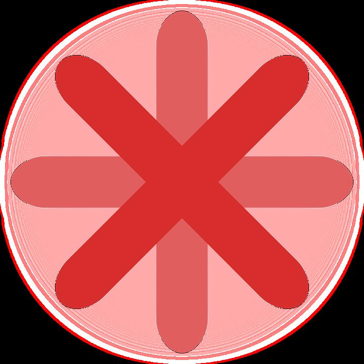 Red, Cross, Ball, Asterisk, Designing