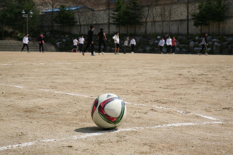 Ball, Football, Exercise, Playground, School, Floor