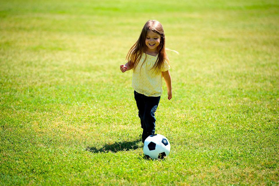 Girl, Playing, Soccer, Ball, Happy, Fun, Child, Kid