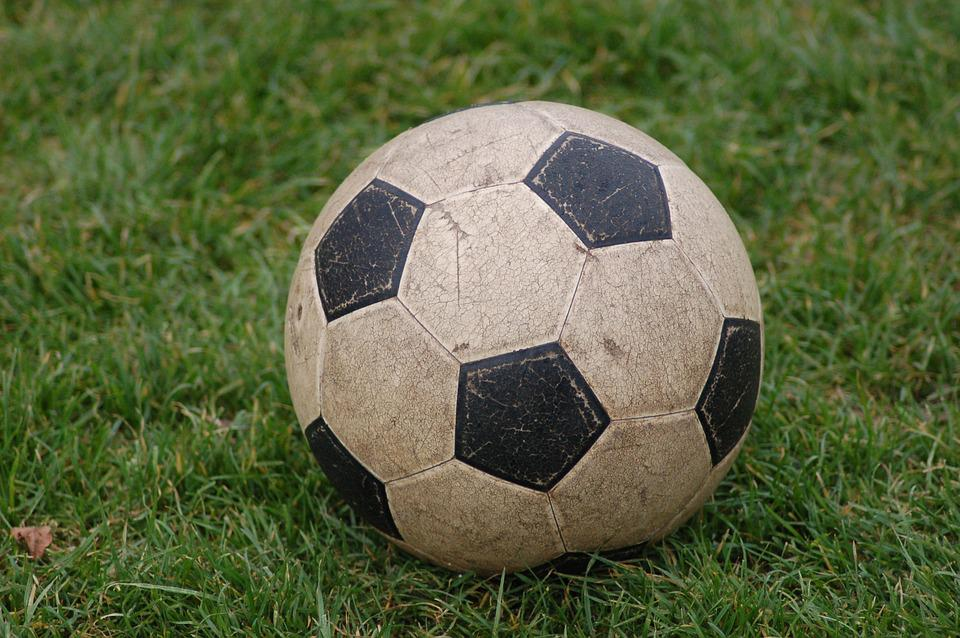 Ball, Grass, Black White