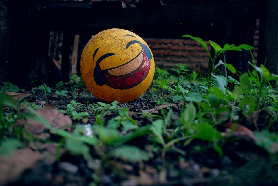 Ball, Laughing Emoji, Emoticon, Emoji, Backyard