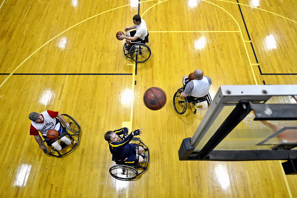 Basketball, Court, Shooting, Ball, Players, Disabled