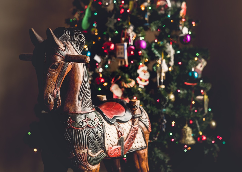 Christmas, Tree, Ball, Lights, Horse, Pony, Figure