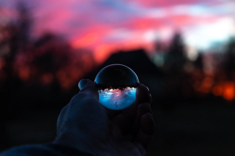 Sunset, Sun, Sunlight, Ball, Sphere, Glass, Crystal