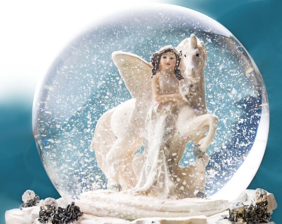 Snow Ball, Elf, Unicorn, Ball, Glass Ball, Snow, Horse