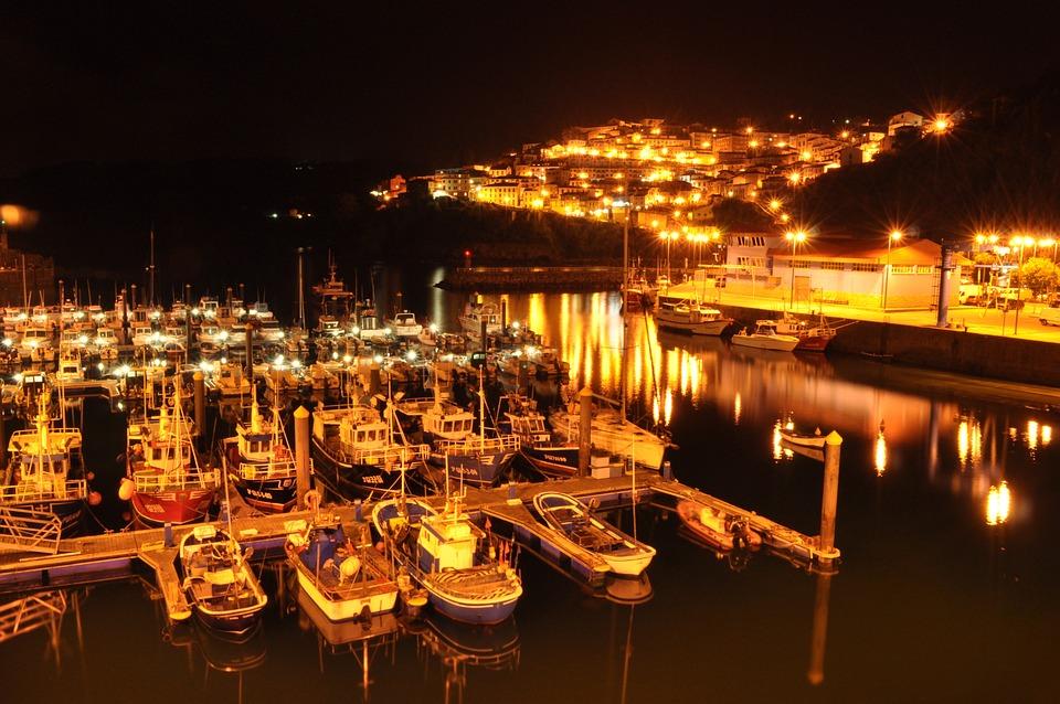 Ballasts, Port, Night, Boats