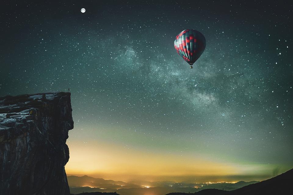 Hot Air Balloon, Stars, Cliff, Balloon, Starry Skies