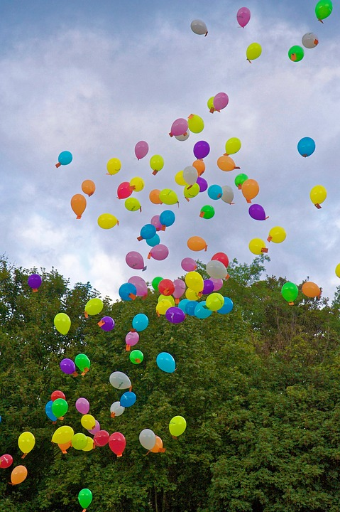 Balloons, Floating, Colorful, Celebration, Multicolored