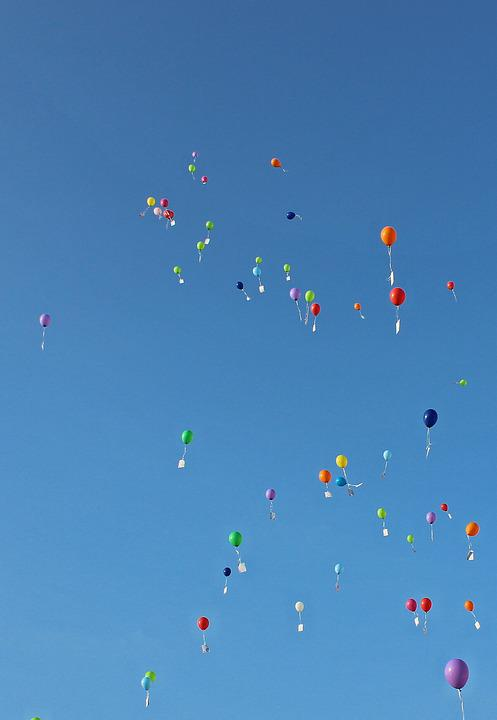 Balloons, Wishes, Sky, Ballons, Fly, Helium, Slightly
