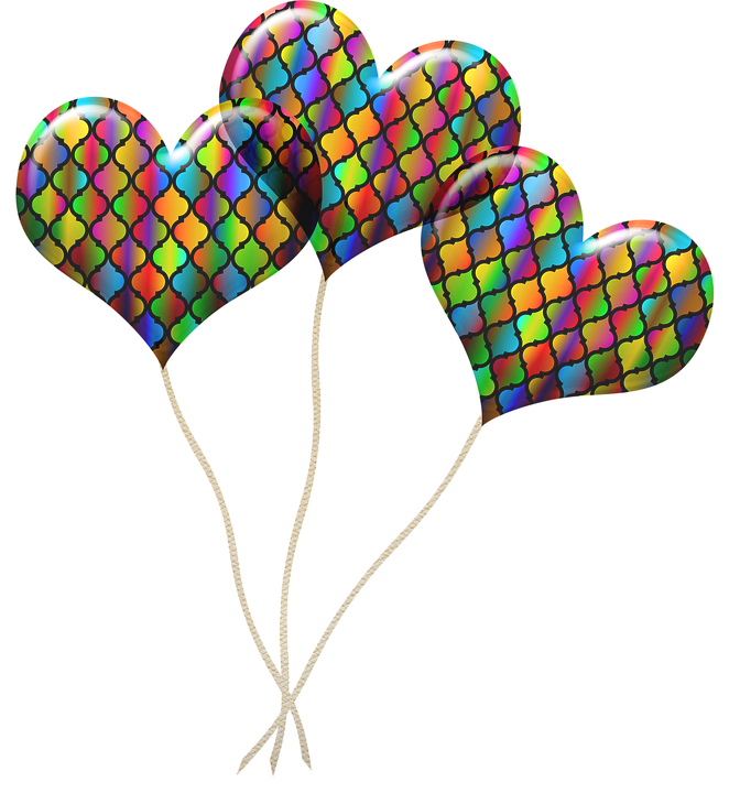 Balloons, Colorful, Celebrate, Rainbow, Stained Glass