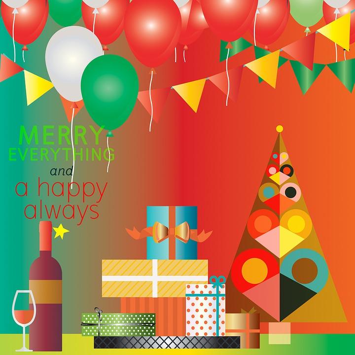 Celebration Christmas, Balloons, Wine