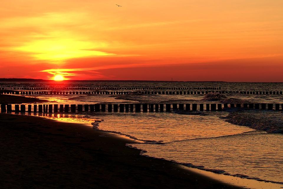 Sunset, Dusk, Waters, Evening, Baltic Sea, Zingst
