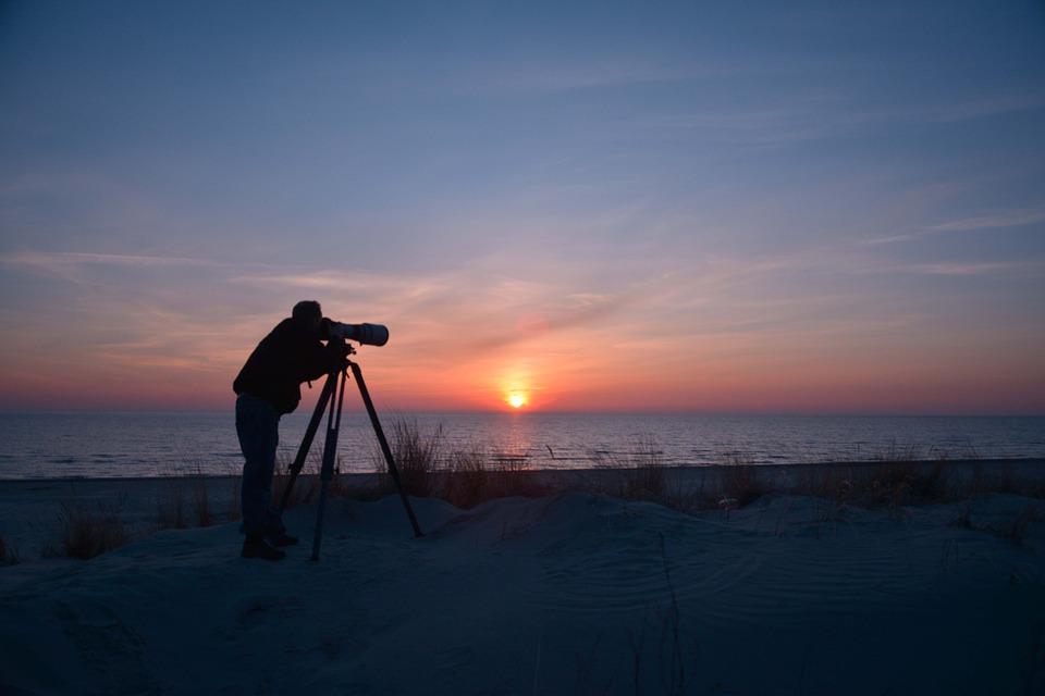 Baltic Sea, Sunset, Photographer, Telephoto Lens