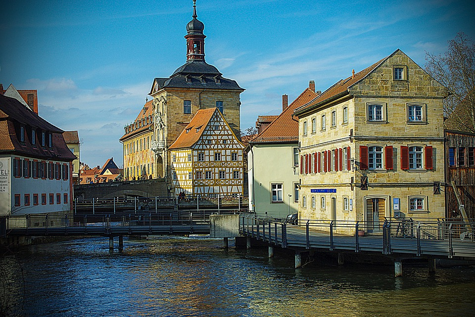 Bamberg, City View, River, Bridge, Church, Nature