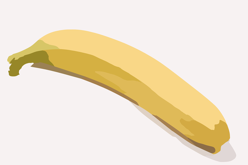 Banana, Fruit, Sweet, Bent, Yellow, Food