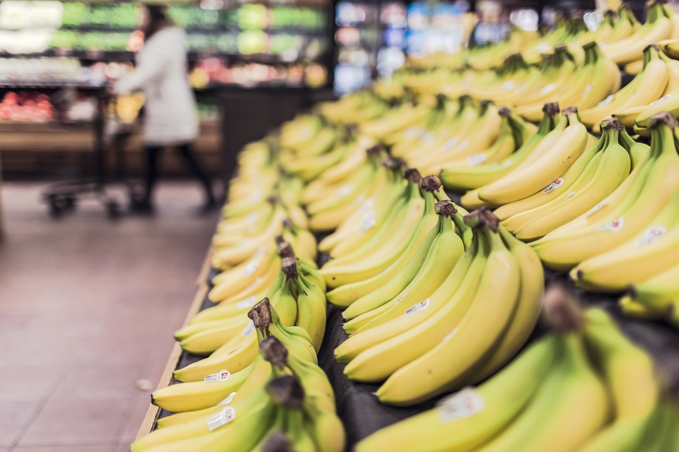 Bananas, Fruits, Food, Grocery Store, Supermarket