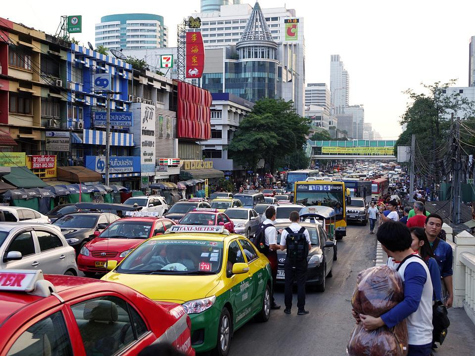 Thailand, Bangkok, Traffic Jam, Buildings, Cars