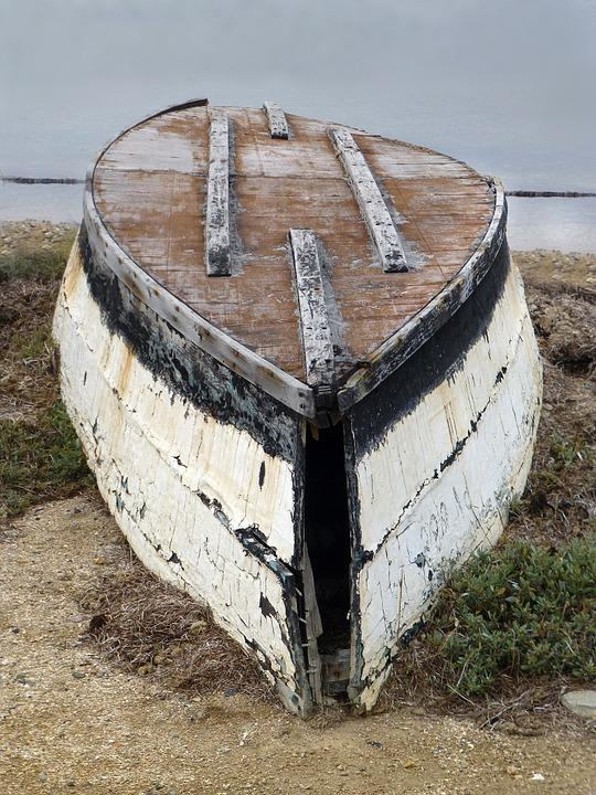 Boot, Wreck, Beach, Decay, Bank, Old, Wood