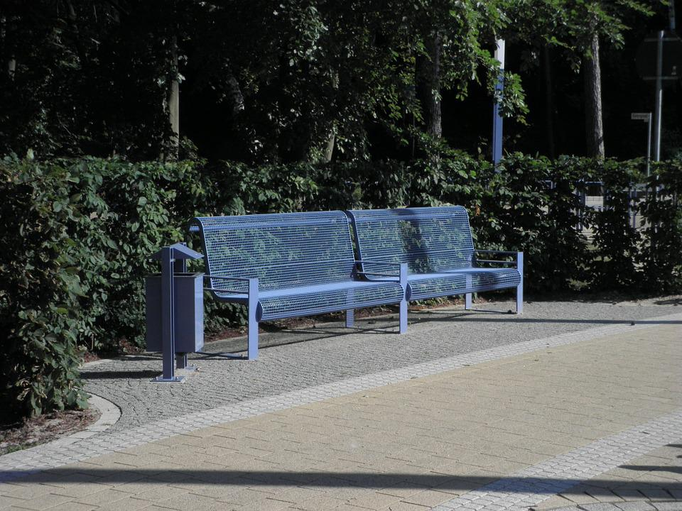 Bank, Bench, Metal, Blue, Modern, Rest, Out