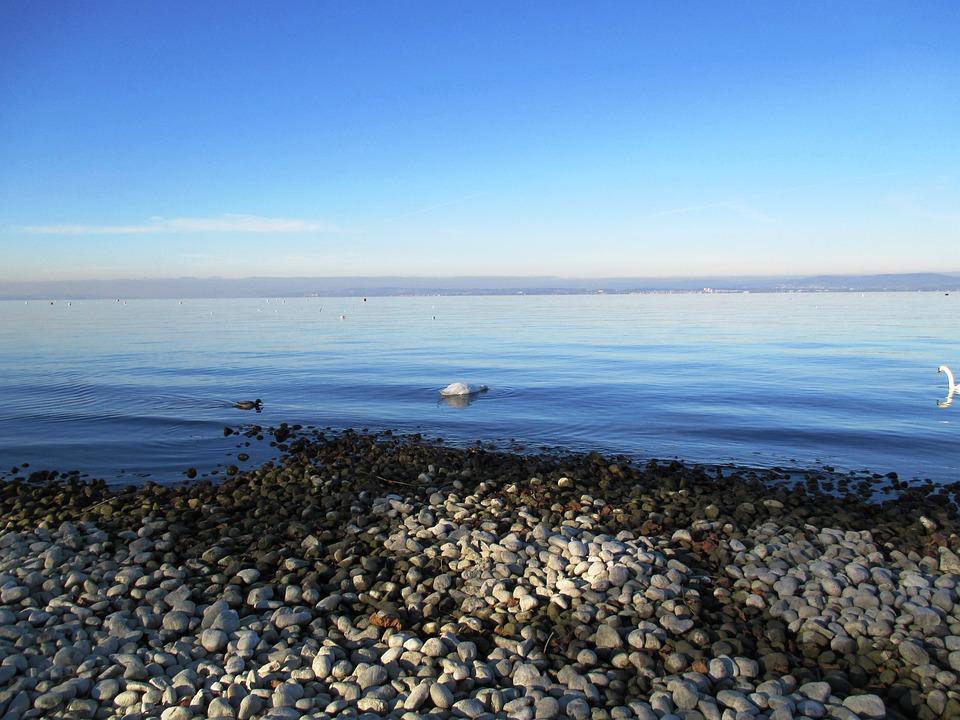 Lake Constance, Stones, Bank, Lake, Beach, Dusk