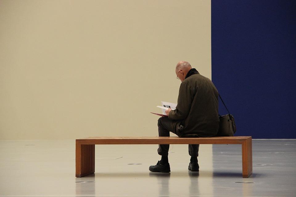 Man, Read, Bank, Wooden Bench, Art