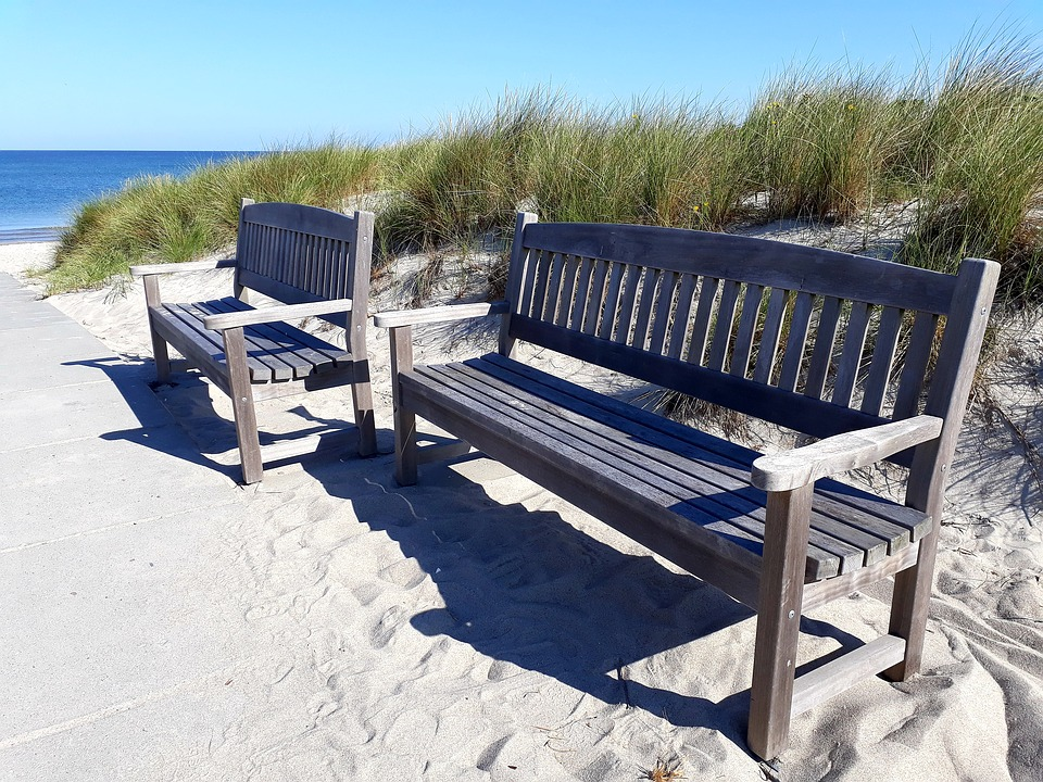 Bank, Beach, Sea, Bench, Sky, Blue, Rest, Relax, Break