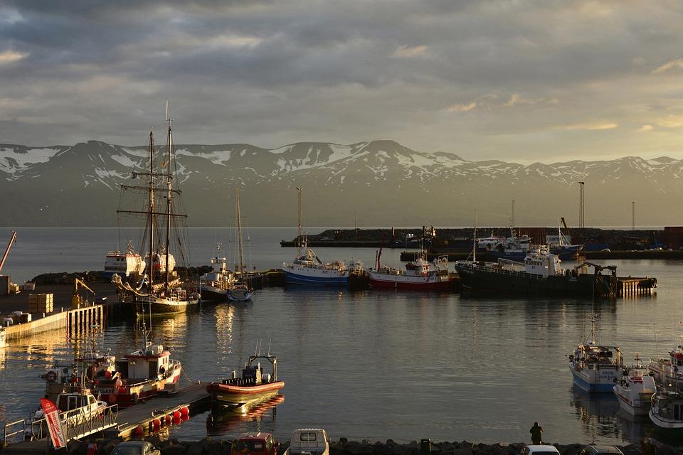Húsavík, Port, Sea, Coast, Bank, Ships, Sailing Ships