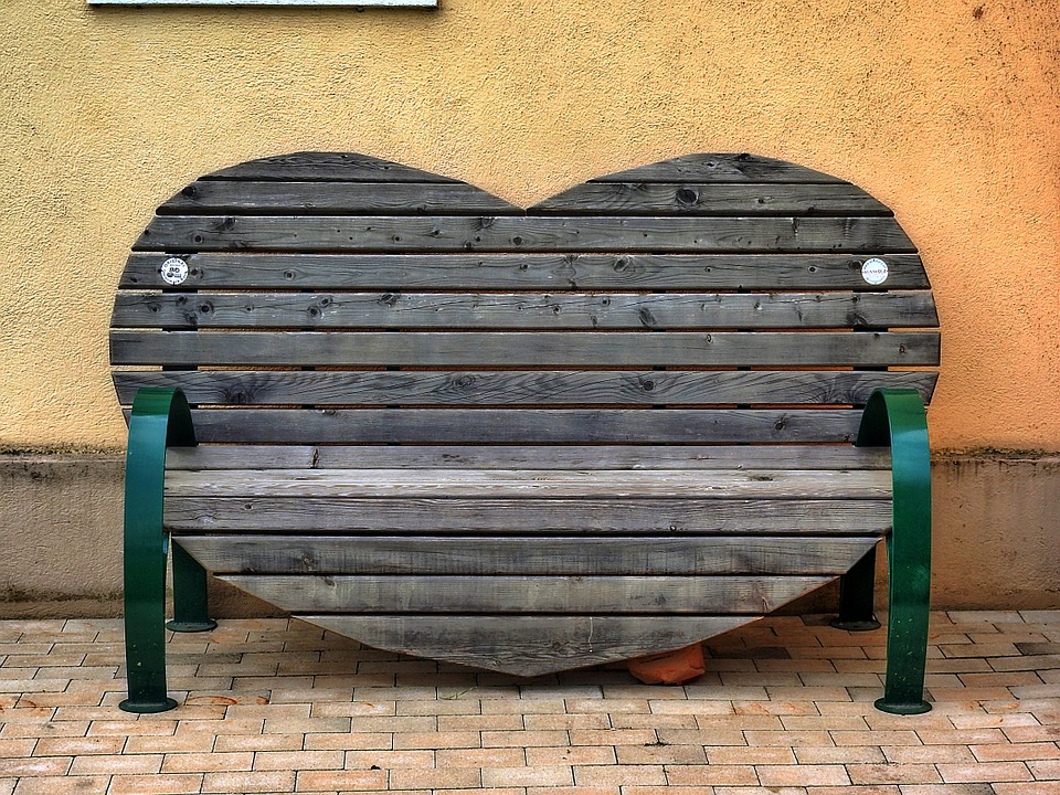Bench, Heart Shape, Bank, Seat