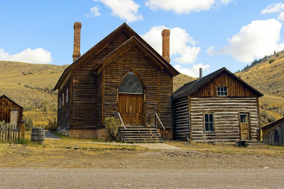 Bannack Methodist Church By A House, Montana, Bannack