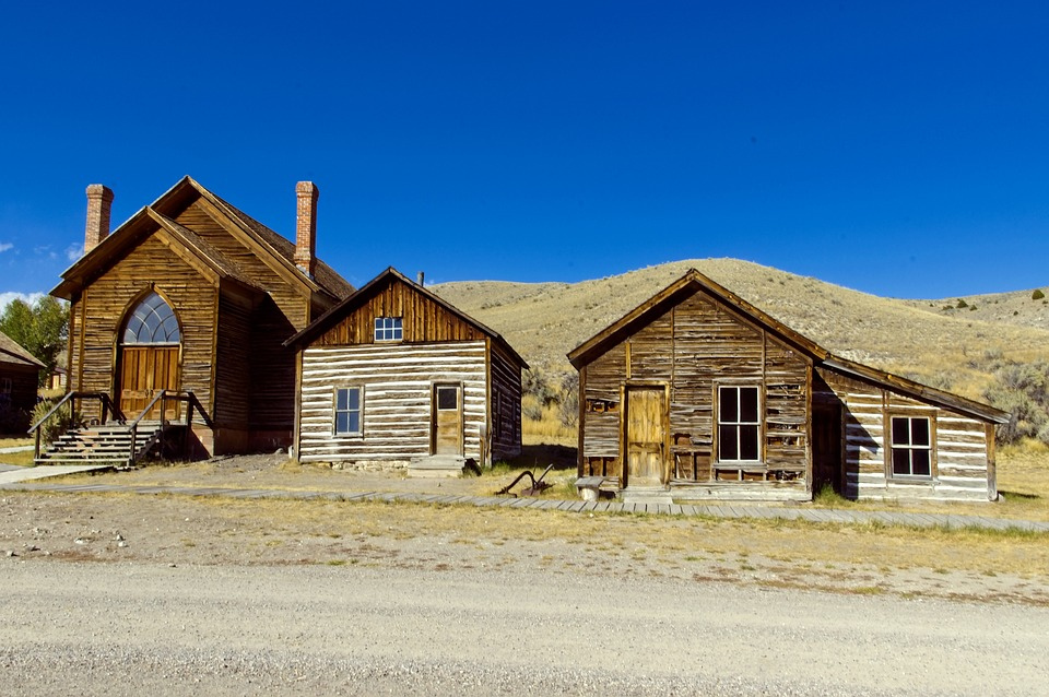 Houses And Methodist Church, Montana, Bannack
