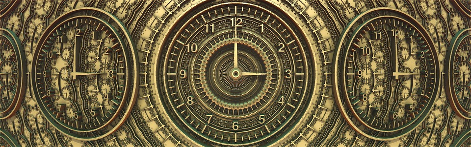 Banner, Header, Time, Ancient Clock, Brown Time