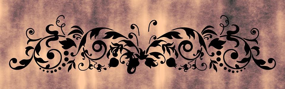 Floral, Grunge, Retro, Banner, Brown Banner