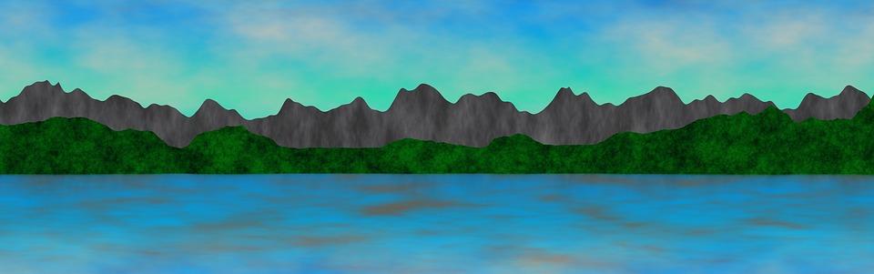 Banner, Header, Mountain, Hills, Water, Sea