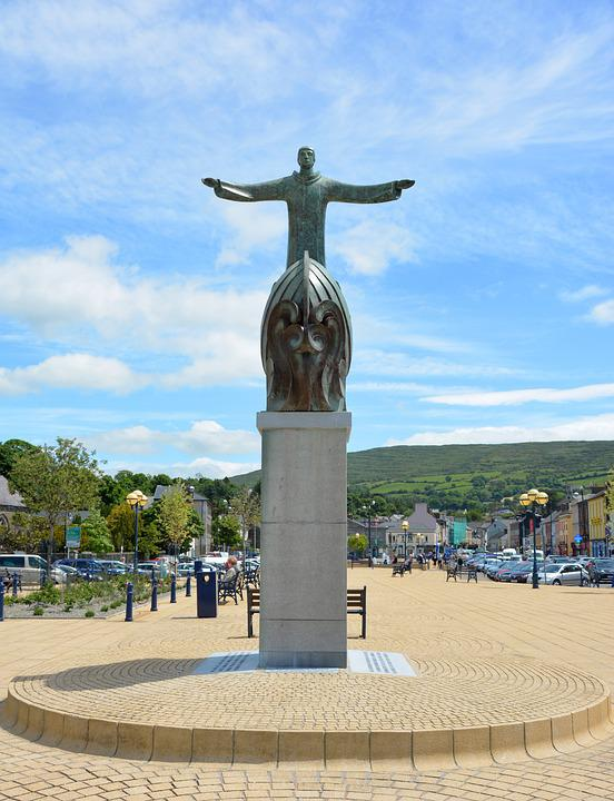 Statue, Bantry, Ireland, Marketplace, Holy, Town