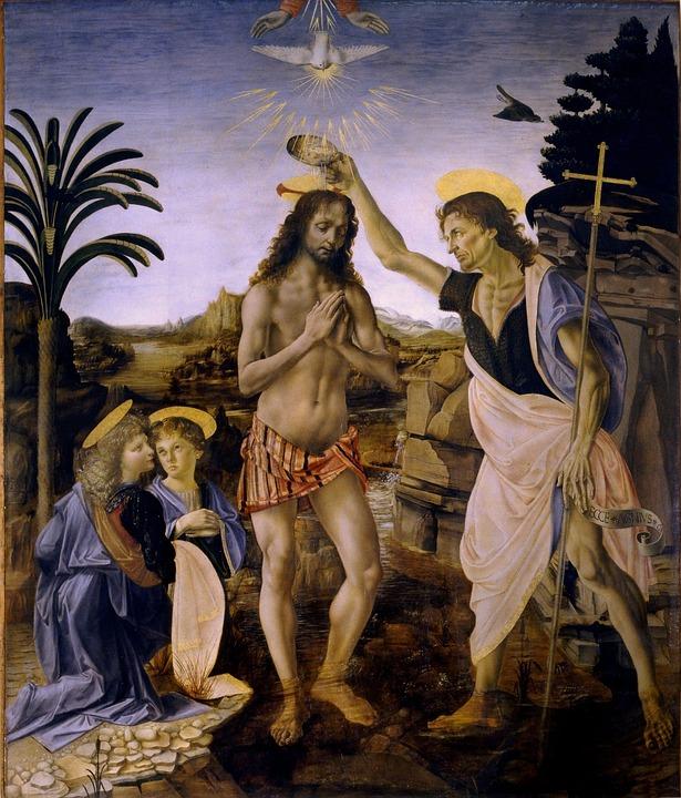 Baptism Of Christ, Leonardo De Vinci