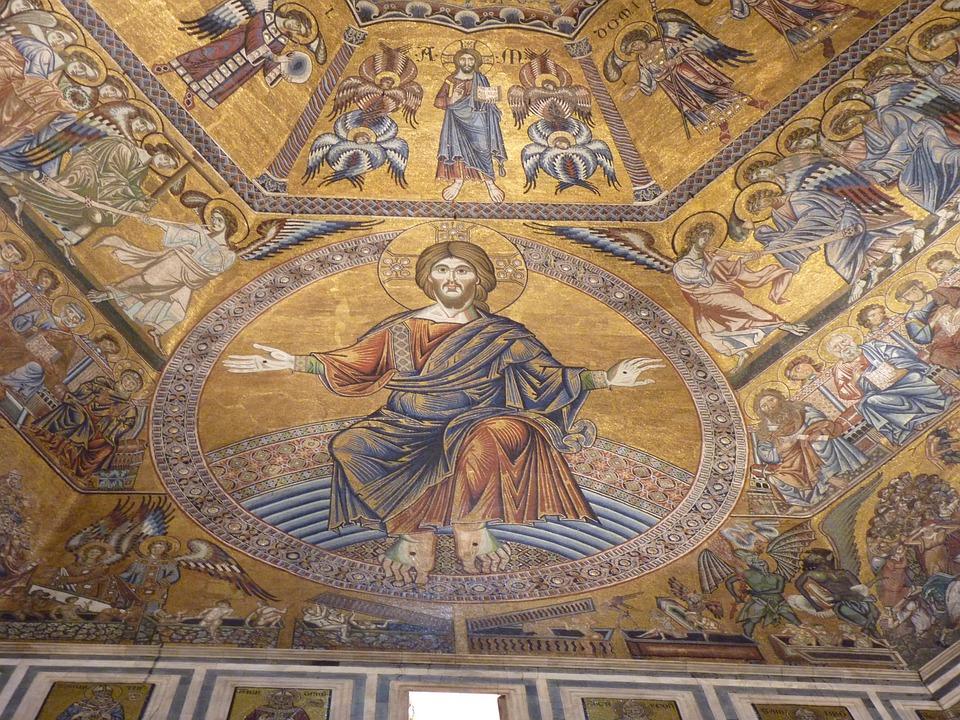 Painting, Mosaic, Florence, Baptistery, Church, Tuscany