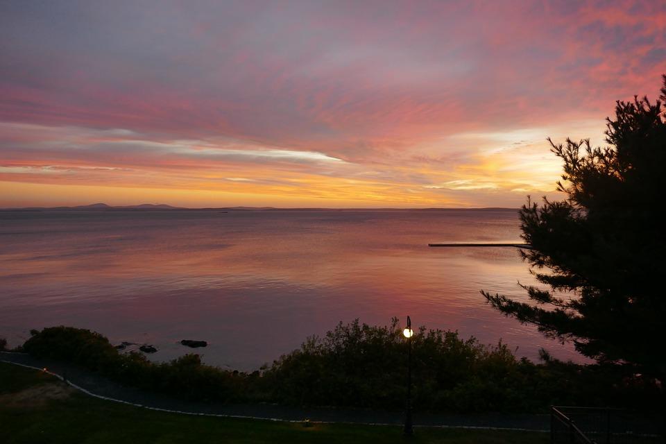 Bar Harbor, Maine, Sunrise, Water, Coastal, Outdoors