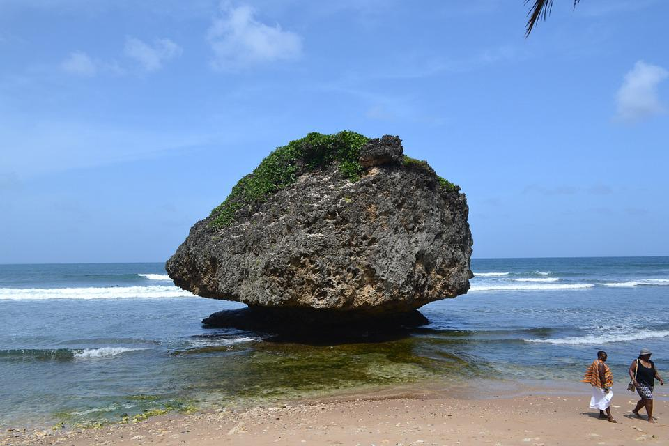 Rock, Barbados, Beach, Tropical, Sea, Sky, Turquoise