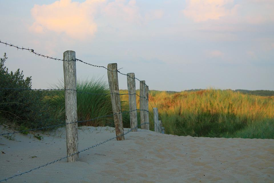 Fence, Barbed Wire, Sand, Dune, Summer, North Sea
