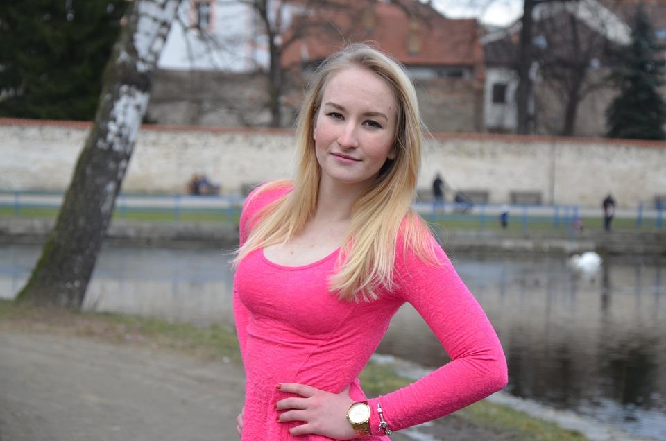 Girl, Lady, Barbora, Pink, Winter, Park