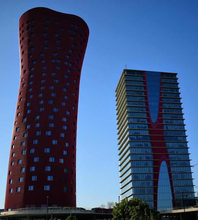 Hotel, Barcelona, Fairgrounds, Architecture, Colorful
